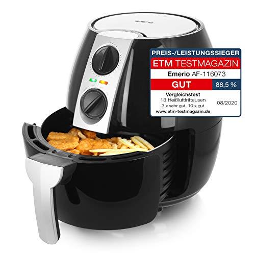 Emerio Heißluftfritteuse, Airfryer, Smart Fryer, Frittieren ohne Öl, 4,5 Liter Volumen, 1500 Watt, AF-116073,Schwarz