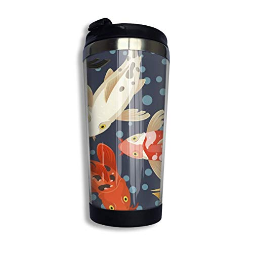 MQJJ Coffee Mugs Koi Carp Japan Traditional Design Reusable 304 Stainless Steel Coffee Cup with Lid Water Bottles for Home Office School 14 OZ Great for Ice Drink, Hot Beverage