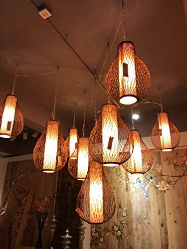 Fine Asianliving Deckenleuchte Bambus Lampe Handgefertigt - Amber Pendelleuchte Beleuchtung Bambus Lampenschirm Geflochten Lampe Belechtung Rotan