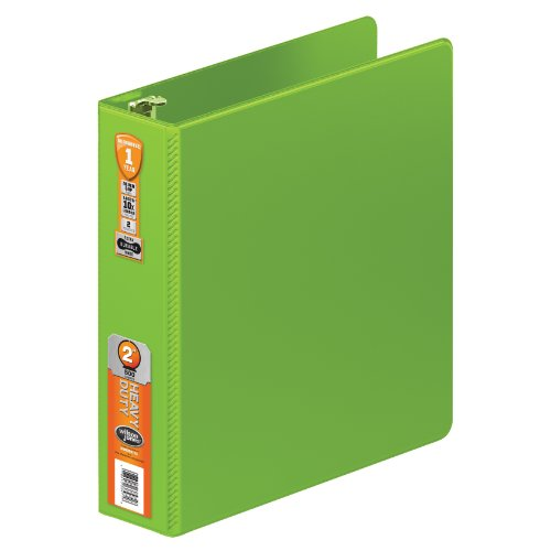 Wilson Jones Heavy Duty Round Ring Binder with Extra Durable Hinge, 2-Inch, Chartreuse (W364-44-376)