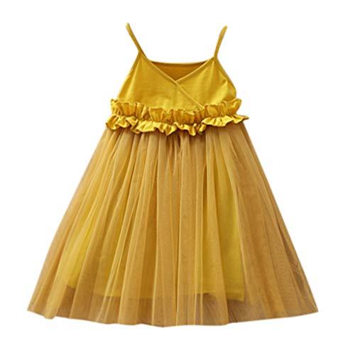 LEXUPE Baby Mädchen Kleid Blumen Spitze Tüll Taufkleid Kinder Hochzeits Festlich Kleider(Gelb,90)
