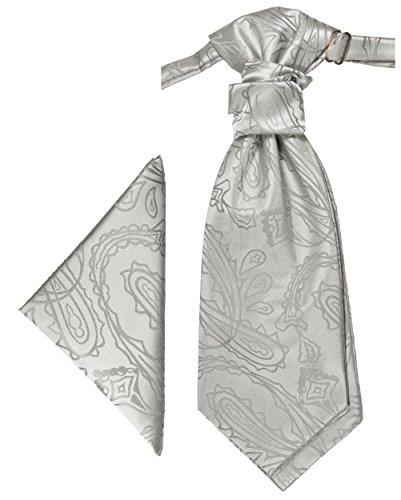 Paul Malone Plastron Set silber paisley 2tlg Plastron mit Einstecktuch - Hochzeit Krawatte