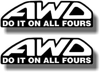 2 AWD Do It On All Fours Decals STI Impreza WRX Vinyl Window Bumper Stickers (White Wording)