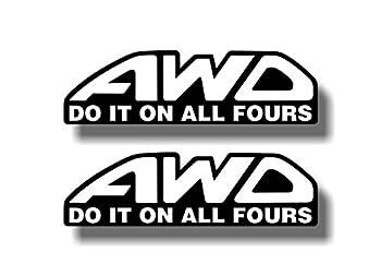 2 AWD Do It On All Fours Decals STI Impreza WRX Vinyl Window Bumper Stickers  White Wording