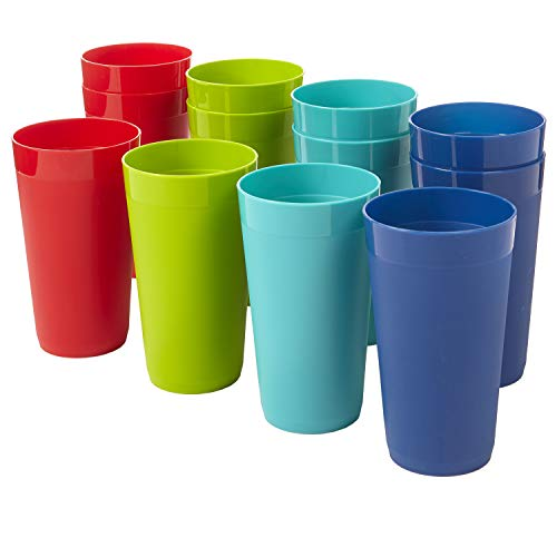 Newport 20-ounce Unbreakable Plastic Tumblers | set of 12 in 4 Basic Colors