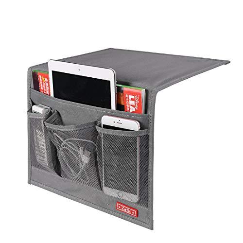 Zafit Bedside Storage Organizer, Table Cabinet Storage Organizer Bedside Organizer Caddy for Remotes Phone Glasses (Classic 4 Pockets-Grey)