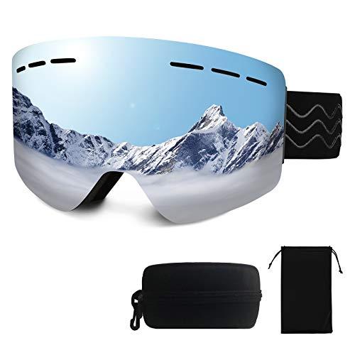Gobesty Skibrille Snowboard Brille OTG, Snowboardbrille Brillenträger, Schneebrille Damen Herren, Ski Goggles Anti-Fog 100% UV400 Schutz - Verspiegelt mit Magnet-Wechselsystem, Helm Kompatible