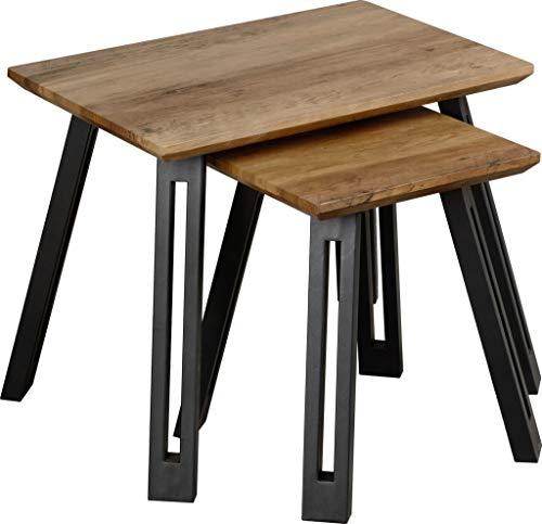 Seconique Quebec Straight Edge Nest of Tables, Medium Oak Effect