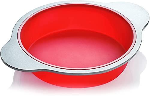 Moule à Gâteau en Silicone Rond| Grande Moule de Boulangerie Boxiki Kitchen de 22 cm | Silicone Approuvé par la FDA avec Cadre et Poignées en Acier de Qualité Lourde