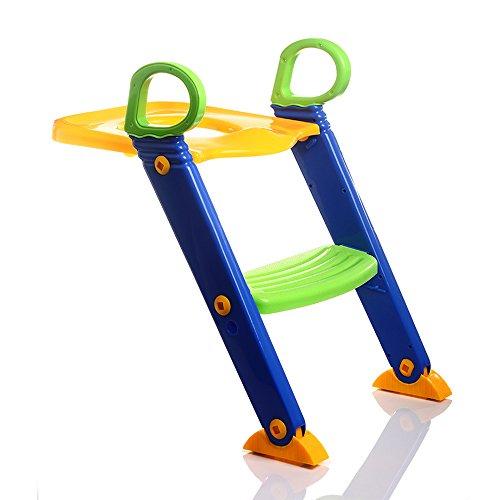 LJHA Tabouret pliable Échelle pliable de toilette d'enfants/chaise antidérapante de pot de bébé/anneau de toilette d'enfants chaise patchwork (Couleur : Vert)