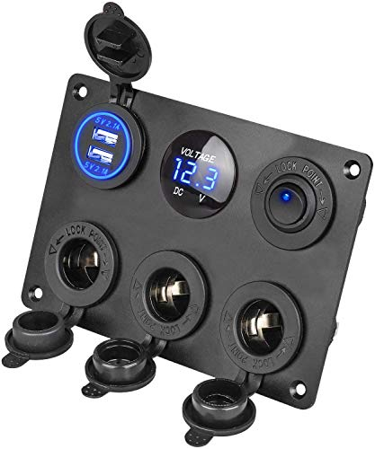6 in 1 Car Charger Switch Panel, 12V Dual USB Charger + blauwe LED voltmeter + 12V Toggle Switch + 3 sigarettenaansteker stopcontacten voor RV Truck Marine Boottrailer Voertuigen Yacht SUV