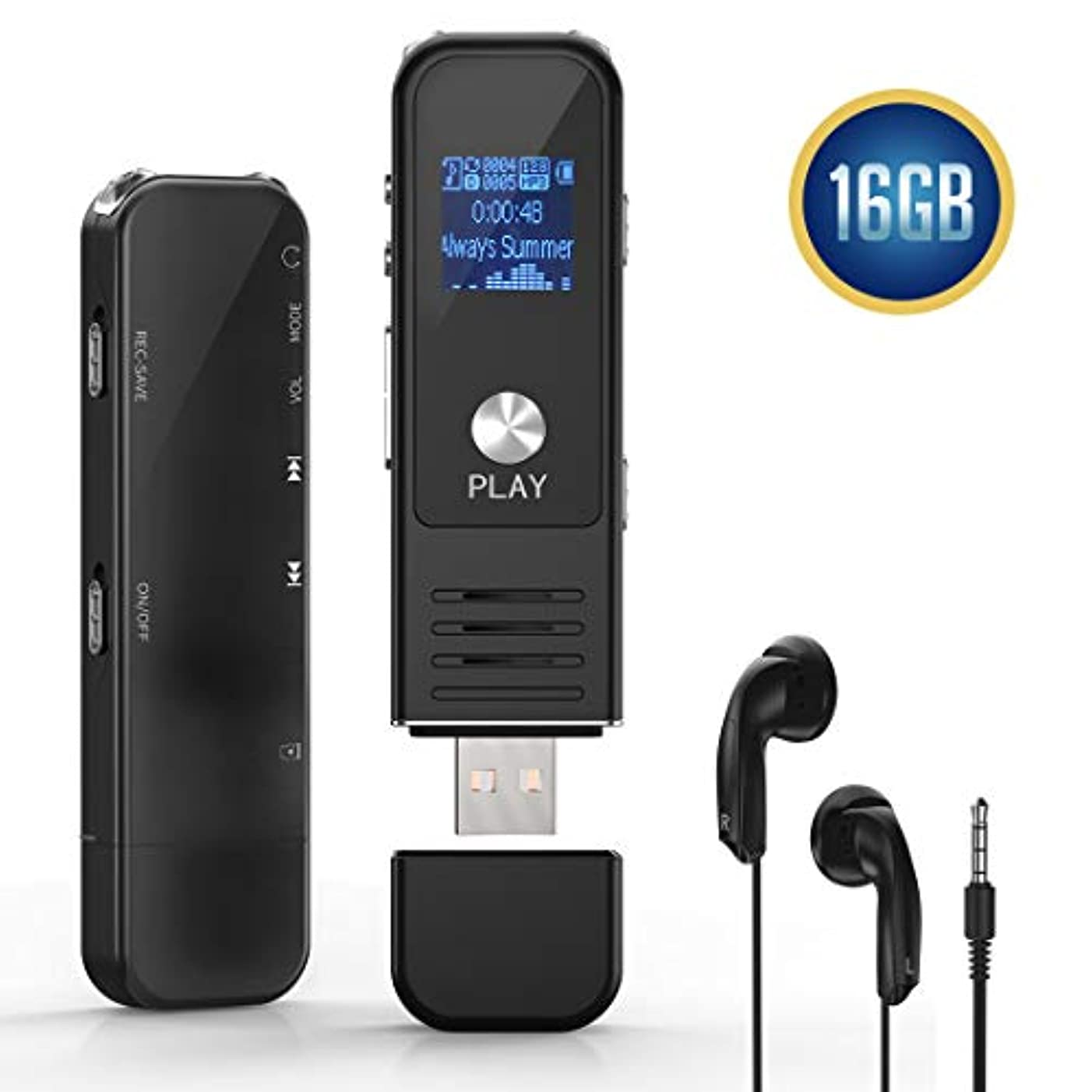 Digital Voice Activated Recorder,Lamyik 16GB Sound Audio Recorder with Playback,Handheld Portable HD USB Rechargeable Digital Recorder with Double Microphone Support TF Card for Lectures, Meetings