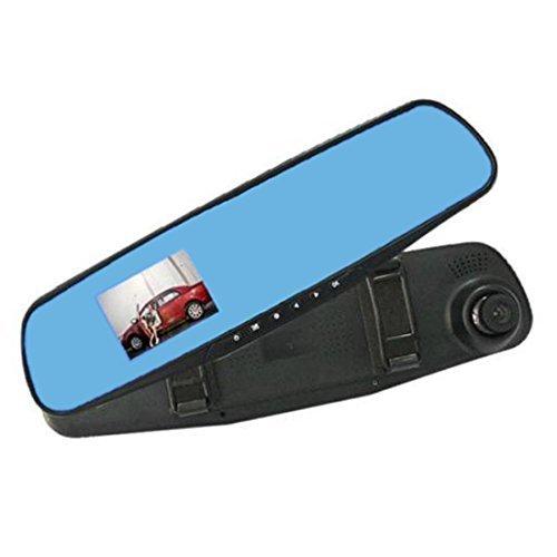DealMux 2,8 Pulgadas TFT LCD HD 1080P del Coche DVR Espejo retrovisor con cámara grabadora de vídeo Dash CAM Azul Soporte del G-Sensor de detección de Movimiento y grabación de Ciclo de Bucle