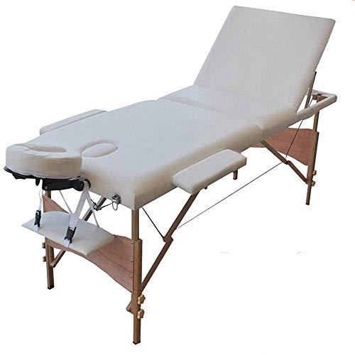 Massageliege Therapieliege, Kosmetikliege klappbar, Massagebank 186cm, mit Tragetasche, Massagetisch Belastbar bis 230 kg (3 Zonen, Holzfüßen, Beige)