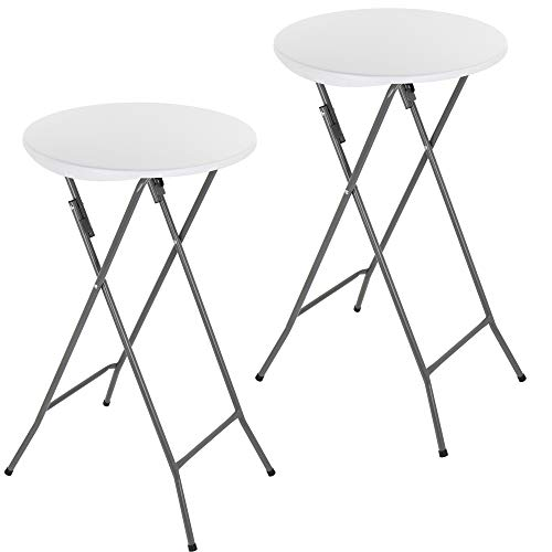 GRANDMA SHARK Round Folding Table, Foldable Bar Table for Indoor Bistro Breakfast Outdoor Party Wedding, White (2 Pcs)