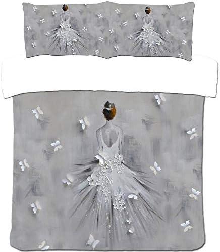 YCMFVG 3Pcs Parure De Lit HD Romantique Danseuse Impression 3D Polyester Housse De Couette Et Taies d'oreiller Ménagers Décoration 220X240Cm