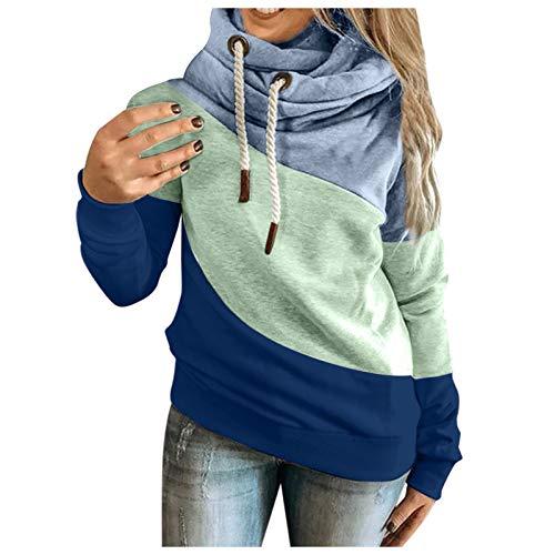 Dasongff Sudadera con capucha para mujer, diseño de patchwork, de gran tamaño, cálida, cuello alto, manga...