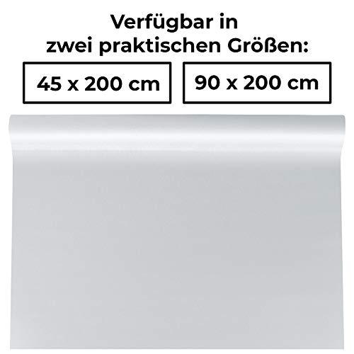 1PLUS Fensterfolie Milchglasfolie, SELBSTKLEBEND, statisch haftend, Sichtschutzfolie Blickschutzfolie für Fenster, Tür, Glas-Trennwand für Küche, Bad und Büro (45 x 200 cm, Milchglasfolie - grob)