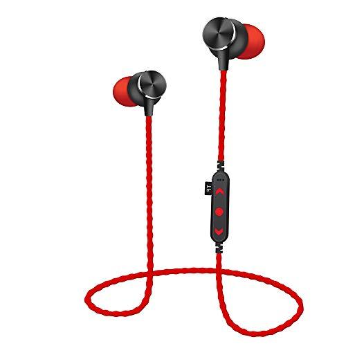 FENG drahtloses Bluetooth-Headset V4.2, MP3-Stereo-Sport-Headset, Flash-Karte SD-TF-Karte, Freisprech-Headset für Business/Büro/Fahren (rot)