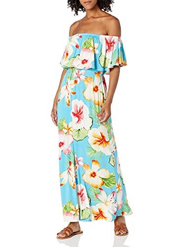 28 Palms Women's Tropical Hawaiian Print Off Shoulder Maxi Dress, Oversize Floral Aqua,...