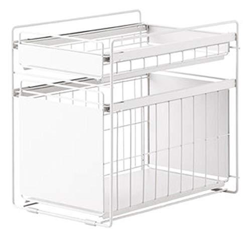 DQM uitbreidbaar onder wastafel organisator, stapelbare kast schuifmand Ideaal voor thuis ruimtebesparing en opgeruimde organisatie van uw keuken, badkamer, woonkamer, kantoor, tuin