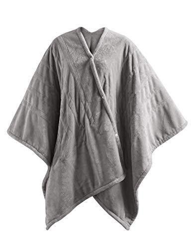 """MP2 Fleece Heated Blanket Wrap Shawl, Wearable Electric Poncho Throw with Buttons, 3 Heating Settings & 2 Hours Auto Shut Off, 50""""x 64"""" Grey"""