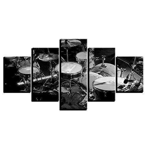 Murturall 5 stuks afdrukken op canvasafbeeldingen modulaire afbeeldingen Hd Printer Music Instrument Paintings Zwart Wit Drums Poster Decor 100x55cm