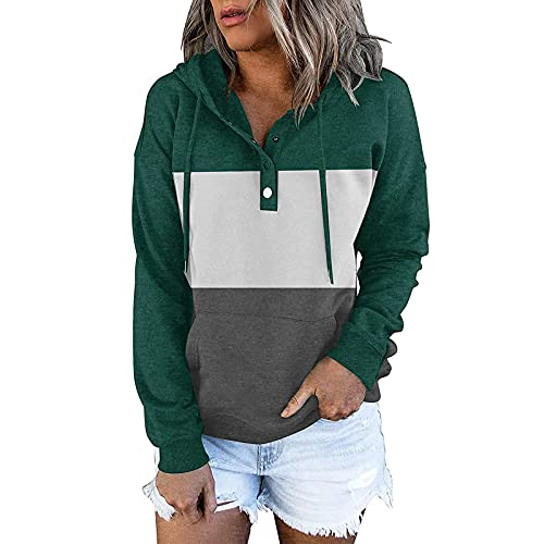 Kanzd Hoodies for Women Fashion Long Sleeve Button Up Sweatshirt Casual Drawstring Hooded Pullover Blouse with Pocket