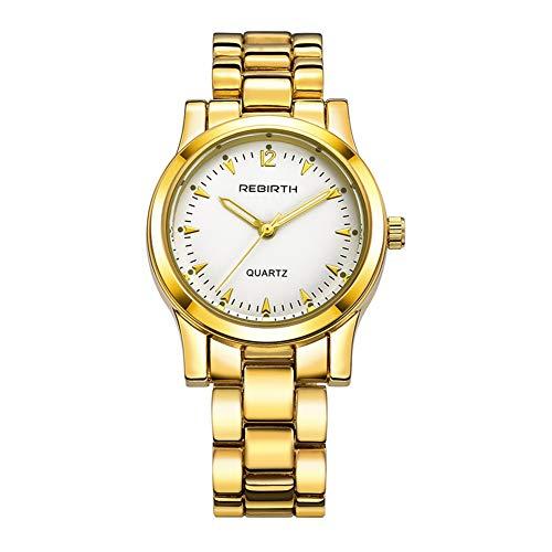 Damen Armbanduhr, Gold Luxusuhr mit Stahlarmband und Rundem Zifferblatt für Weibliches Geschenk(Gold + Weiß)