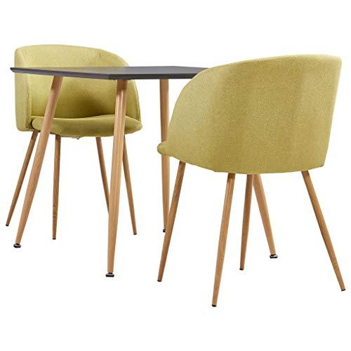 vidaXL Juego de Comedor 3 Piezas Set Conjunto de Muebles Asientos Sillas Sofás Mesa Decoración de Cocina Salón Sala Casa Hogar Interior Tela Verde