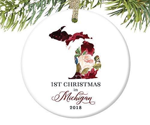 None-brands 2020 Christmas Ornaments, 1St Christmas in Michigan Christmas Ornament,Quarantine Keepsake