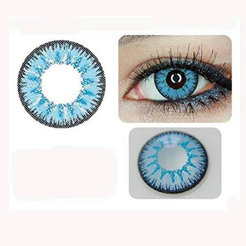 Farbige Kontaktlinsen Coloured Contact Lenses Crazy Halloween Coloured Cosmetic Makeup Cosplay lens (1 paar) (Blue)