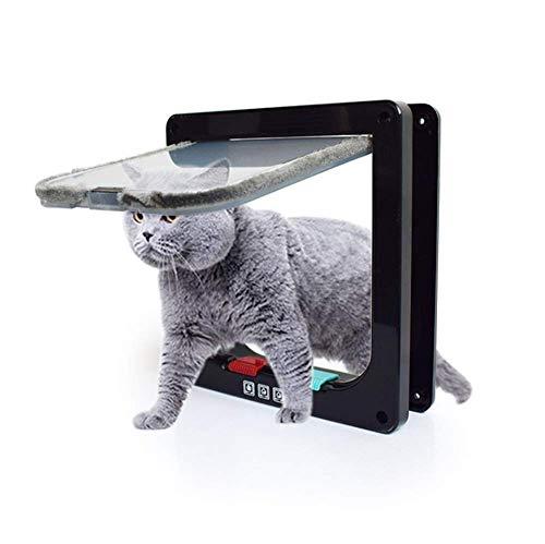 WAWZNN Intelligent Mikrochip Katzenklappe, mit 4 Wege Magnet-Verschluss Einfach zu Installierender Schwarz Katzentürbausatz Hundetür für Holztür, Sichtfenster, Glasschiebetür,L