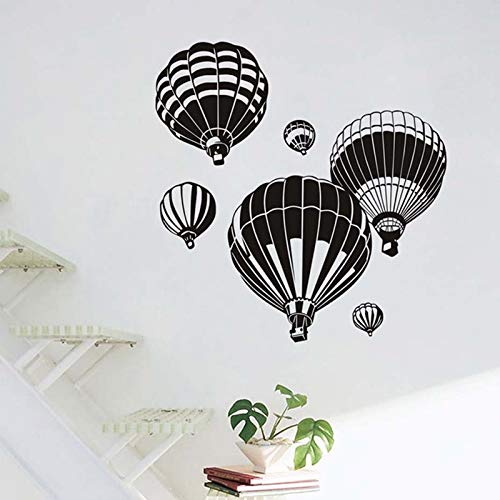 Nórdico negro globo de aire caliente pegatinas de pared calcomanías de vinilo sala de estar TV Fondo de pared habitación de los niños pegatinas de pared A6 42x43m