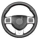 XGYUII Cubierta de Volante de Coche de Costura a Mano de Cuero sintético Negro PU para Dodge Dart 2013-2016 Volkswagen VW Routan 2011-2012