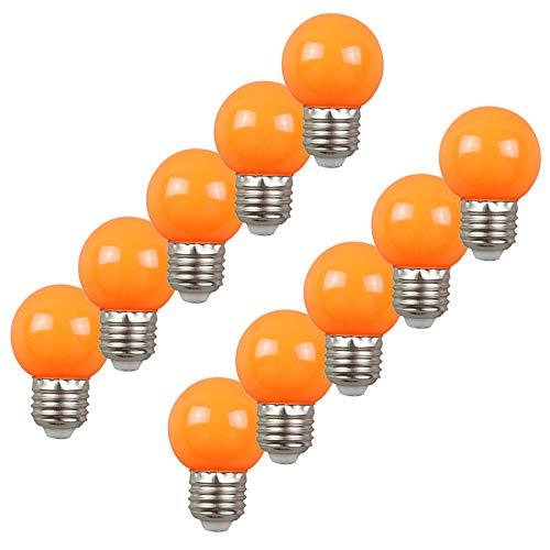 Pak van 10 gekleurde lampen LED 2W E27 G45 lamp verlichting gloeilamp lamp lamp voor Partybeleu chtung Biergartenbeleu (Orange)