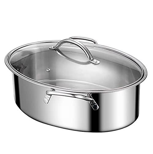 Vapor de pescado/olla de sopa Oval de acero inoxidable de acero inoxidable gran capacidad espesada marisco Steamer Gas Estufa 42 cm para la cocina de inducción