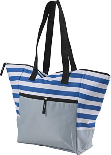 Strandtasche mit Reißverschluss Groß Badetasche XXL für z.b Familie Beachbag (Blau)