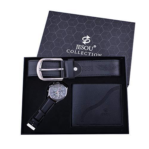 YIBOKANG 3pcs Business Men's Business Casual Simple Reloj De Cuarzo Impermeable Conjunto Conjunto De Moda Cinturón Cinturón Combinación Creativa Traje De Regalo (Color : Negro)