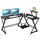 GreenForest L Shaped Desk with Moveable Shelf, 58' x 44' Corner Computer Gaming Desk PC Table Workstation for Home Office, Walnut