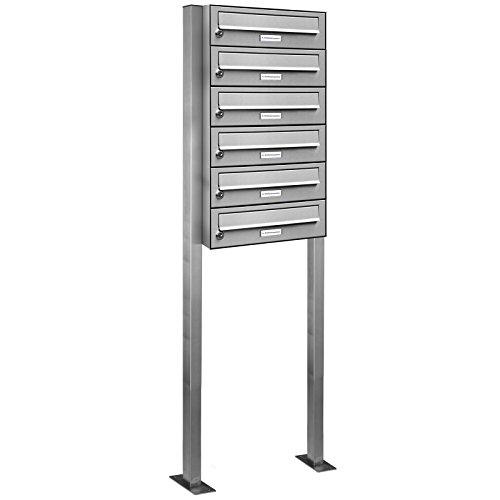 AL Briefkastensysteme 6er Edelstahl Standbriefkasten rostfrei als 6 Fach Briefkastenanlage DIN A4 in Postkasten Briefkasten Design modern