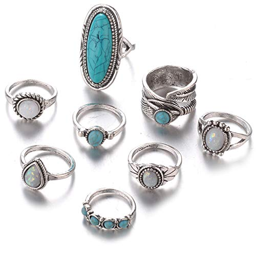 EJY 8pcs Vintage Silver Boho Joint Knuckle Rings Set Midi Rings Jewelry Gift for Women Girls