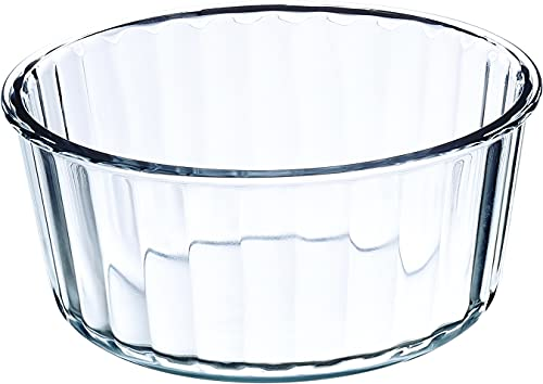 Simax Oven Safe Souffle Dish: Round 2 Quart Glass Souffle Pan - Large Dish Great for Baking Appetizers, Casseroles, Entrees, Desserts And More - Microwave, Oven And Dishwasher Safe Clear Baking Bowl