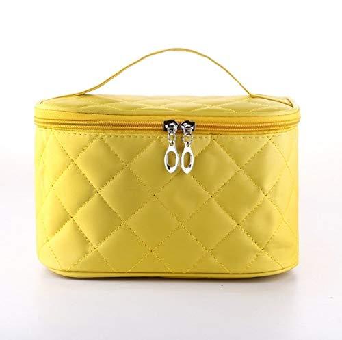 Boîte à maquillage, sac cosmétique portable carré carré rhombique simple, trousse à maquillage portative de voyage, boîte de rangement pour bijoux ongles beauté (Color : Yellow)