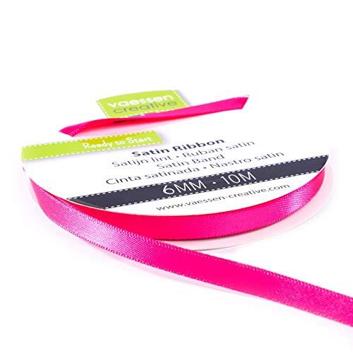 Vaessen Creative 301002-1007 Satinband Pink, 6 mm x 10 Meter, Schleifenband, Dekoband, Geschenkband und Stoffband für Hochzeit, Taufe und Geburtstagsgeschenke, 6MM