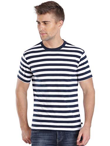 Jockey Men's Regular Fit T-Shirt (2715 _Navy and White_Medium)
