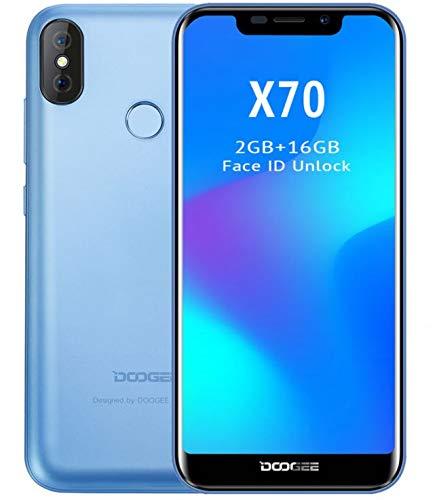 DOOGEE X70 móviles Libres - Pantalla de 5,3 Pulgadas con U-Notch (relación 19: 9), Smartphone Android 8.0 SIM sin Tarjeta, 4000mAh batería, reconocimiento Facial, Quad Core de 2GB + 16GB - Azul