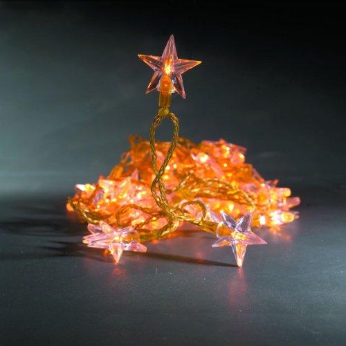 40er Mini Lichterkette Acrylsterne gold aussen Konstsmide 2047-008