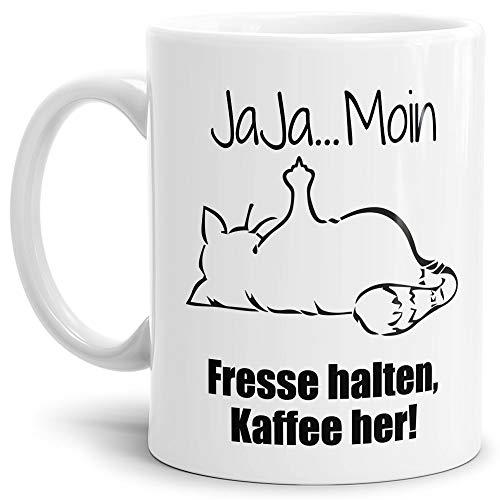 Tasse mit Spruch - Nö-Katze Ja Ja Moin - lustige Tasse für die Arbeit/Bürotasse/freche Tasse mit Katze/Geschenkidee lustig - Weiß