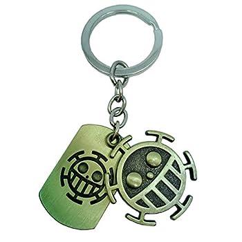 KOGNGU Hot Japan Anime One Piece Trafalgar Law Portgas D Ace Stud Keychain Cosplay  Token Keychain & Bronze